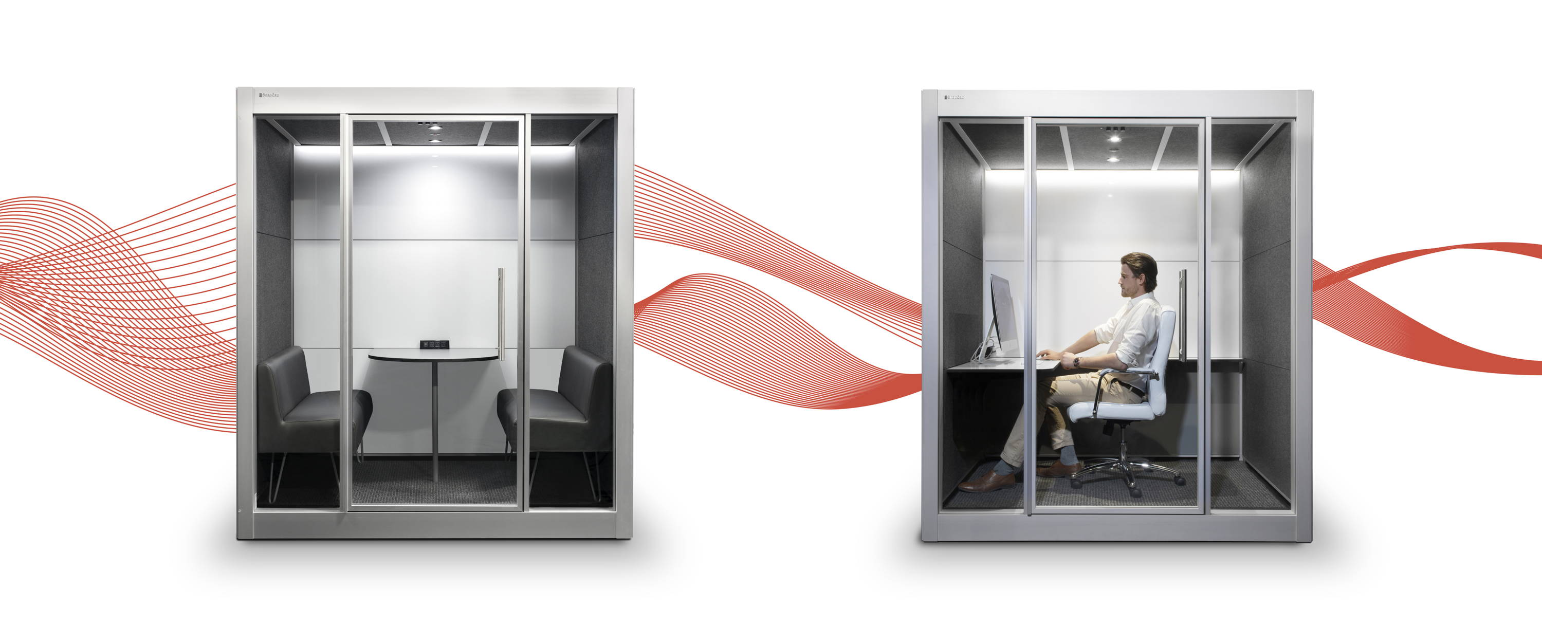 SnapCab's Meet 4 and SnapCab Work+ office pods with white and PET panels