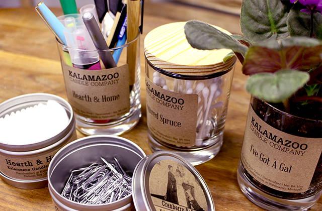 Jars and tins repurposed