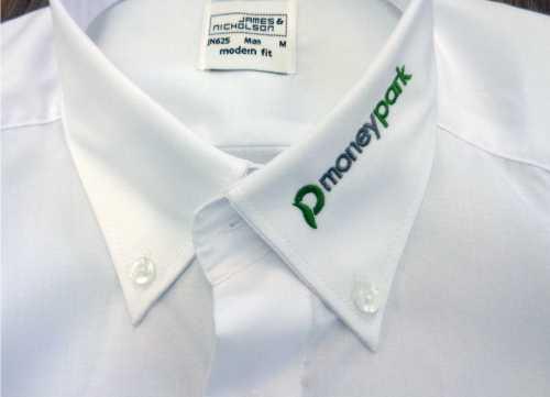 Hemden besticken- Mit Firmen oder Vereinslogo  dieses Hemd haben wir Für eine Bank bestickt.
