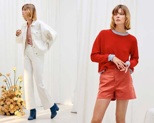 Woman wearing white wed leg denim trousers with blue heeled ankle boots and organic cotton white denim jacket from sustainable womenswear brand Kowtow and woman wearing red knitted jumper with blue collar and cuffs along with high waist high cut coral shorts