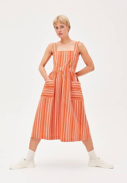 Woman wearing striped organic cotton dress