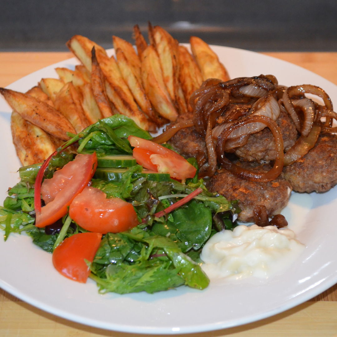 Date: 7 Mar 2020 (Sat) 78th Main: Garlic, Herb & Parmesan Beef Rissoles with Italian Salad & Fries [262] [155.5%] [Score: 10.0] Cuisine: Italian Dish Type: Main These simple, rustic rissoles are packed with flavour from Parmesan and garlic-herb seasoning. They're the perfect little parcels of joy to be savoured with a simple Italian-style salad, fries and aioli.