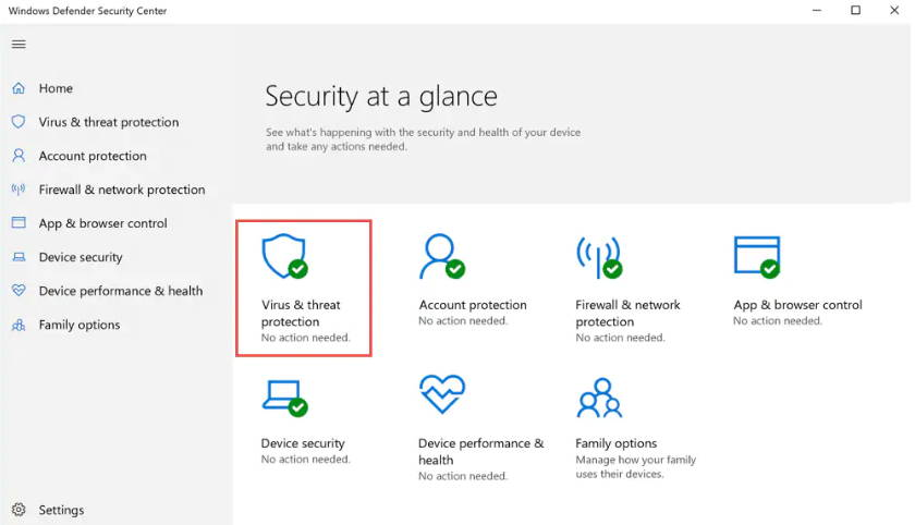 Windows virus and threat protection
