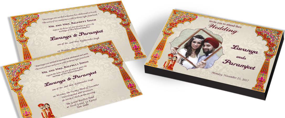 Couple photo Marriage invitation for Sikhs