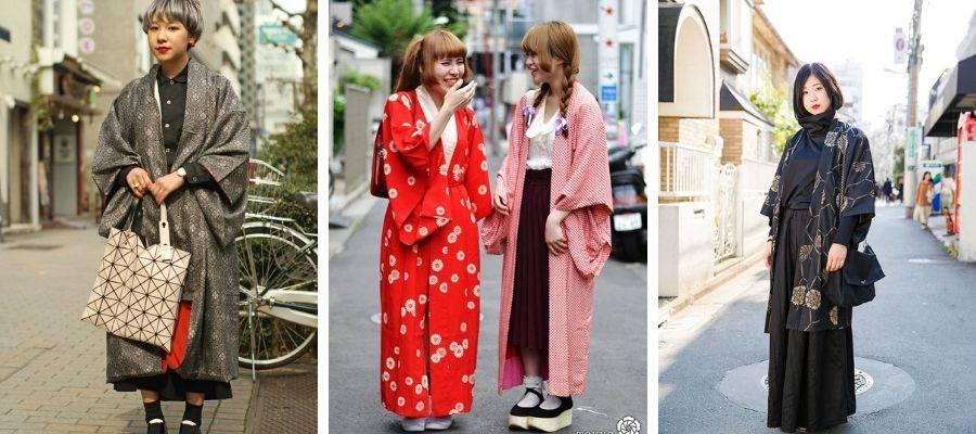 Young People wearing Kimono mixing wafuku with yofuku