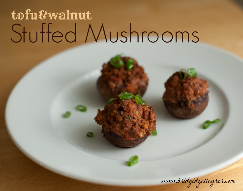 Tofu- and Walnut-Stuffed Mushrooms Recipe, www.bridgidgallagher.com
