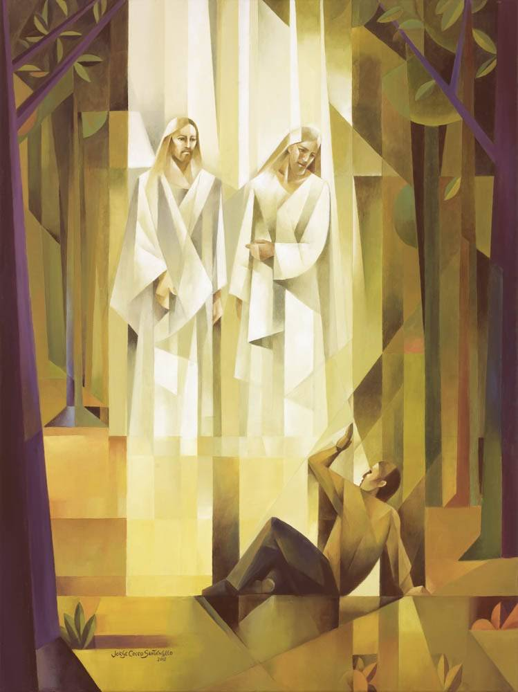 Modern sacrocubism painting of Joseph Smith's First Vision in the Sacred Grove. Heavenly Father and Jesus Christ stand above Him in the air.