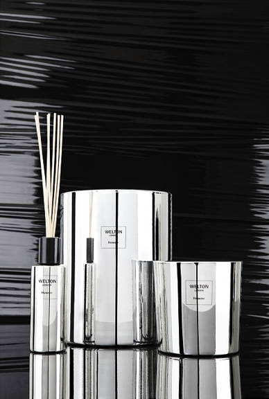 Welton London Metallic Collection, Harmony scent is displayed in beautiful shiny silver lacquered glass containers. Limited Edition Made in France