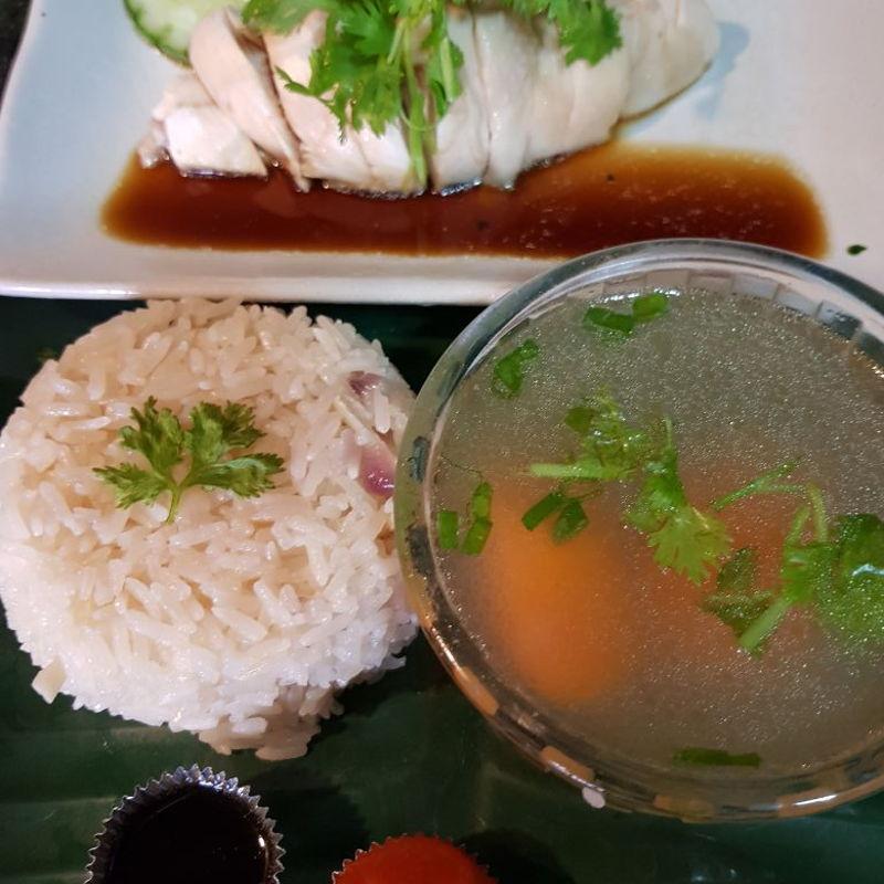 Hainanese chicken rice.