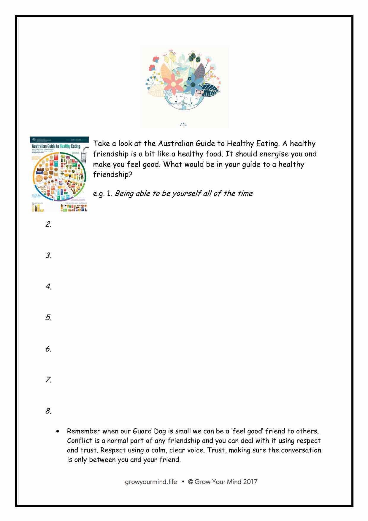 Healthy Friendships worksheet