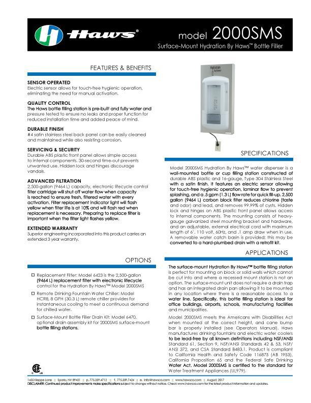 Hydration by Haws™ Model 2000SMS Spec Sheet