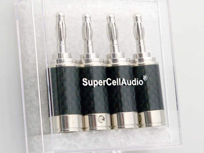 SuperCellAudio ® Rhodium Banana Plugs Set of 4