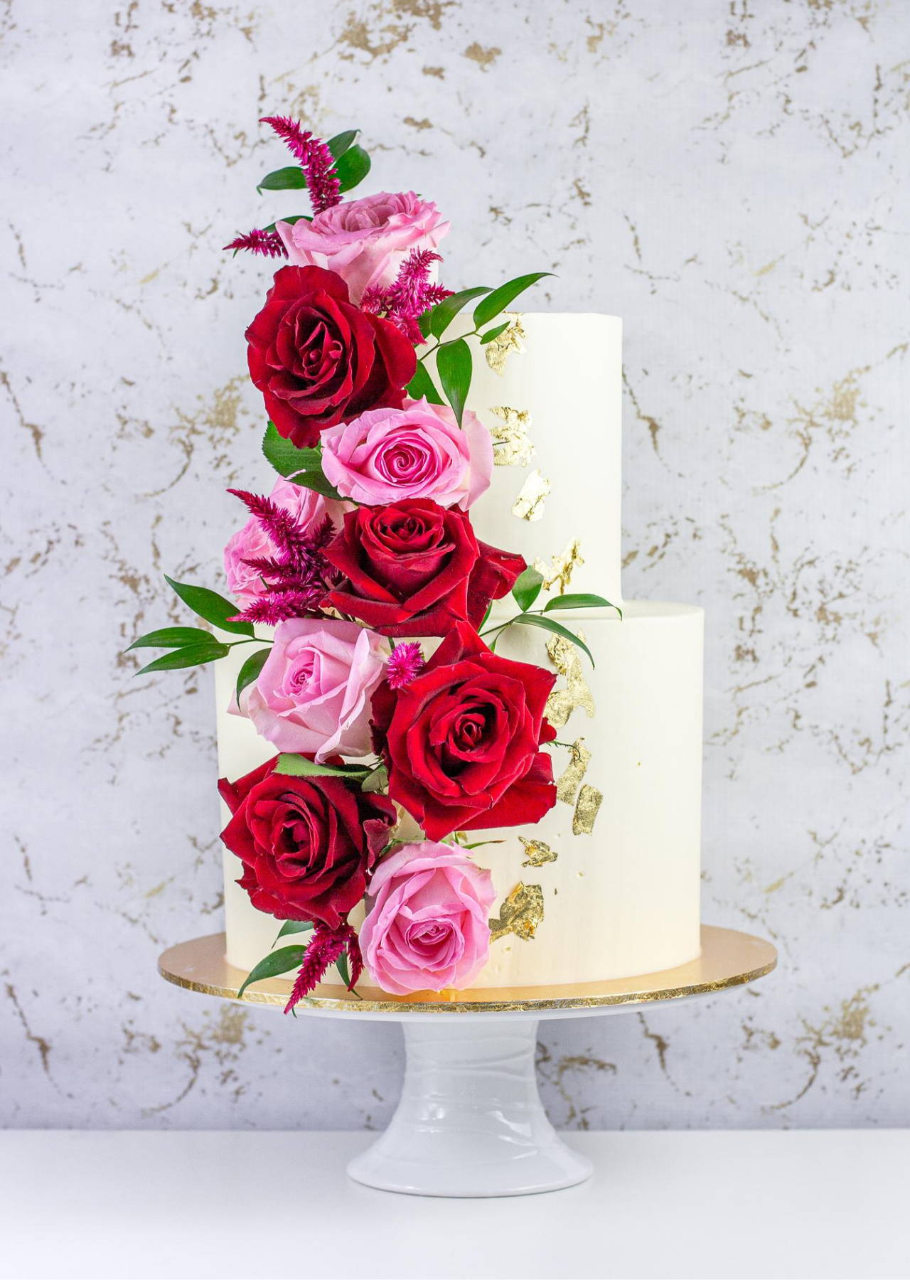 2 Tier Wedding Cake with Roses and Gold Foil Detailing
