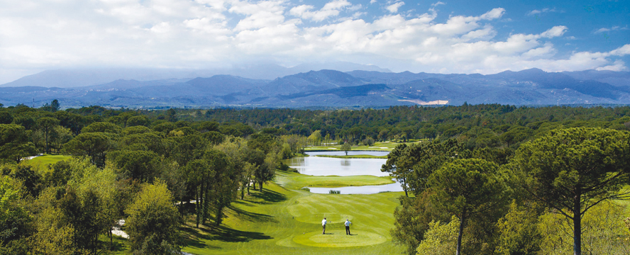 Hamburg - View over the Pyrenees mountain ranges and Spain's best golf course in the exclusive golf resort PGA Catalunya in the northeast of the Iberian Peninsula.