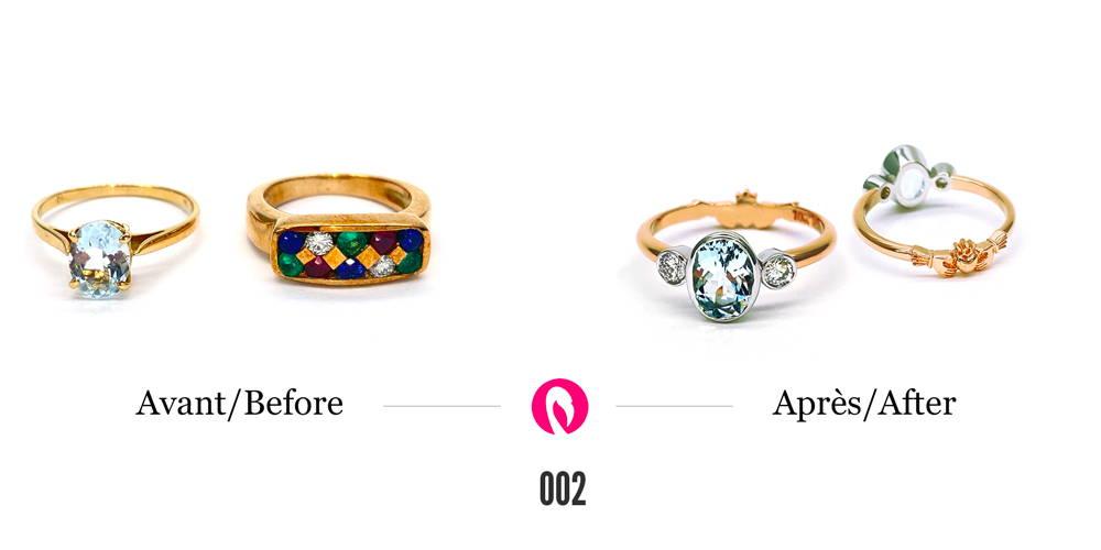 Un solitaire et une bague avec pierres précieuses et diamants transformés en une bague en or jaune avec les trois diamants récupérés et corps de bague sculpté de deux mains qui se joignent à l'arrière.