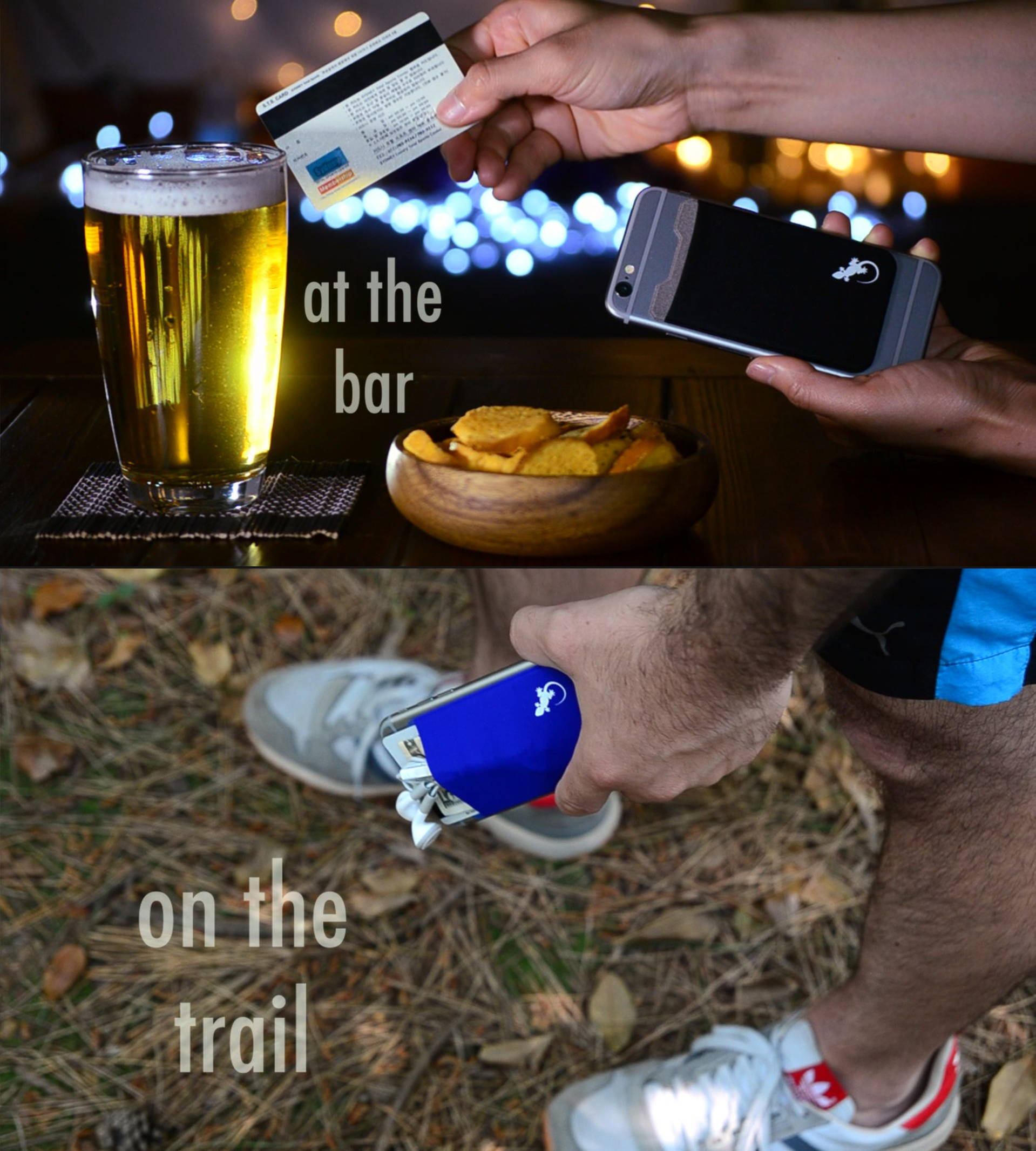Wallet phone case by Gecko sticks on your phone and used at the bar and on the hiking trail