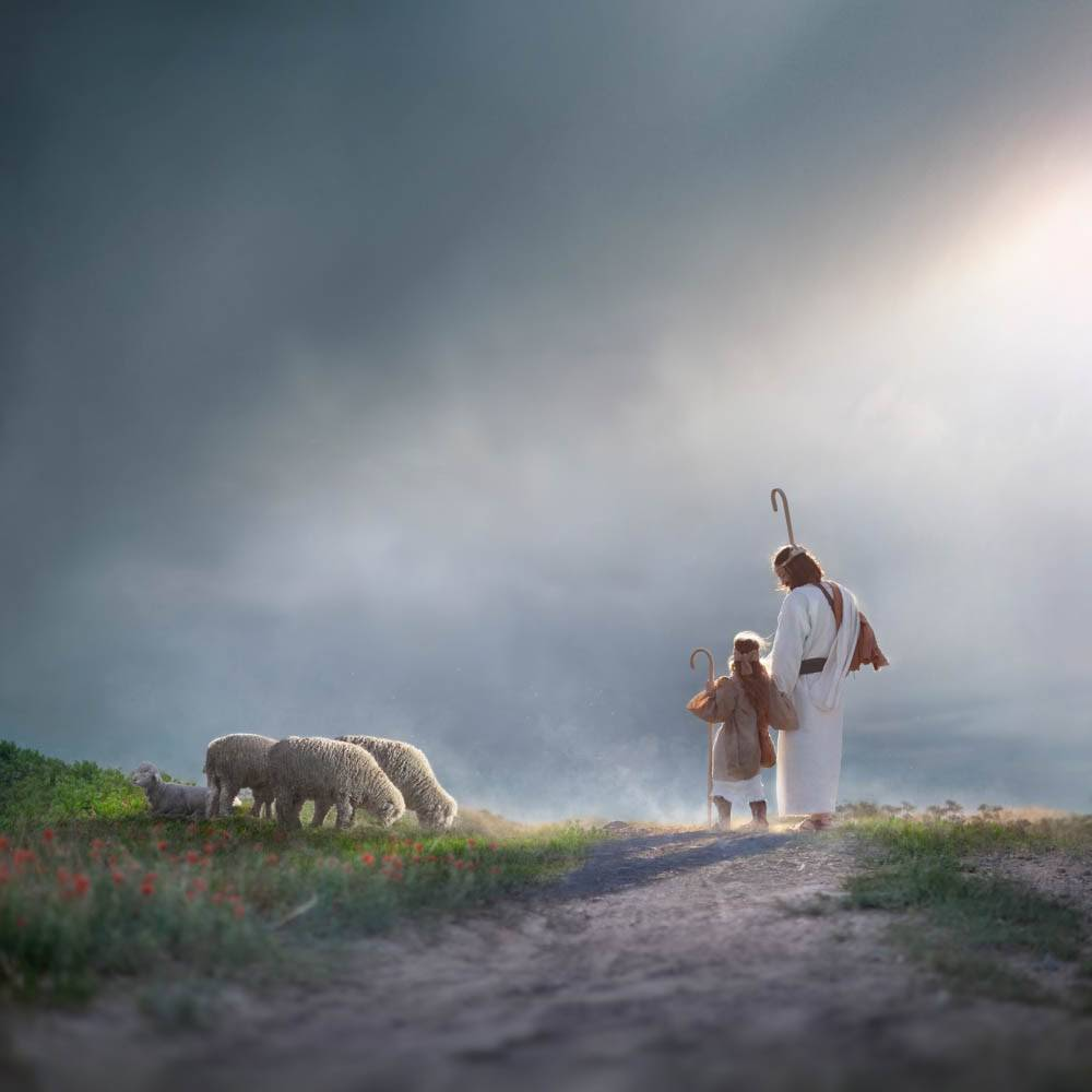 LDS art painting of Christ the Good Shepherd guiding a child shepherd.