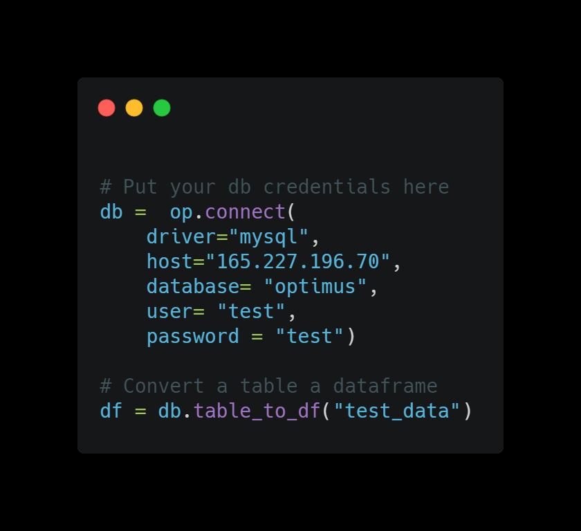 Optimus loading database example