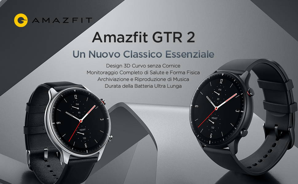 Amazifit GTR 2-Un Nuovo Classico Essenziale:Design 3D Curvo senza Cornice | Mpnitoraggio Completo di Salute Forma Fisica | Archiviazione e Riproduzione di Musica | Durata della Batteria Ultra Lunga