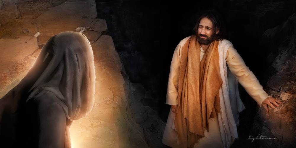LDS art image of Jesus raising lazarus from the dead.