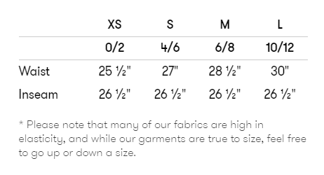 terez size chart