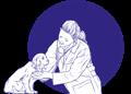 veterinarian with dog drawing cartoon CURAFYT