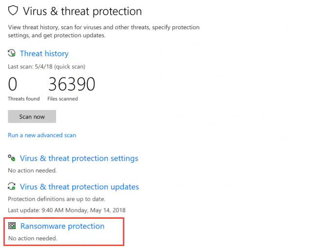 Windows ransomware protection
