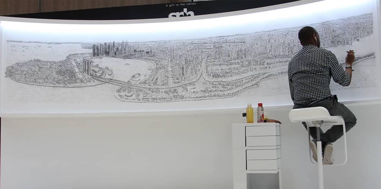 Stephen Wiltshire draws Singapore Panorama