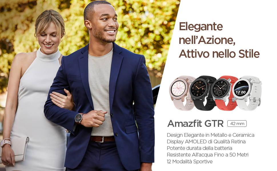 Amazfit GTR 42mm - Design Elegante in Metallo e Ceramica | Display AMOLED di Qualità Retina | Potente durata della batteria | Resistente All'acqua Fino a 50 Metri | 12 Modalità Sportive