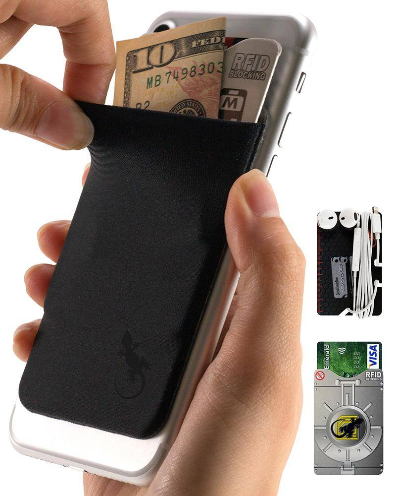 Phone wallet by Gecko Travel Tech, adhesive card holder sleeve in black black, universal fit to any cell phone, carry credit cards and cash in this stretchy Lycra pocket.