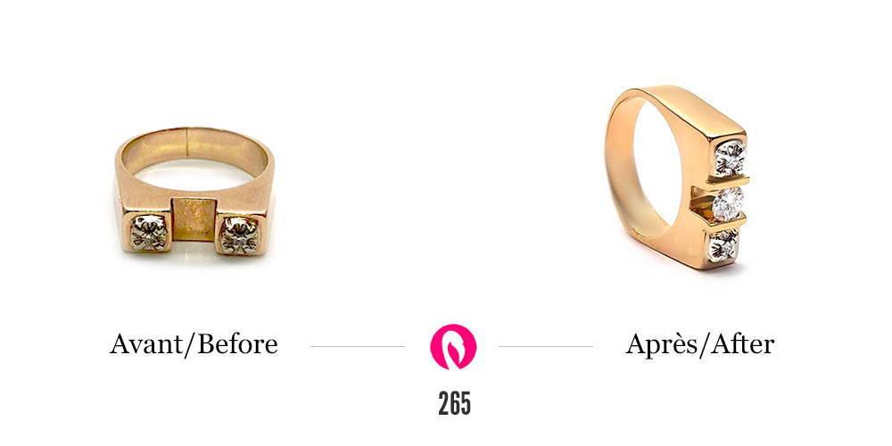 Transformation d'une bague en or jaune style gothique à deux diamants en une bague au même style avec sertissage amélioré et moderne de trois diamants