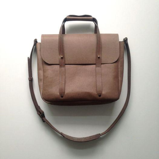 Кожаный портфель малый Stone | Nude | Black