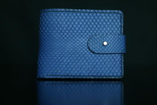 """Синий бумажник из кожи змеи, модель """"PURE"""" extra"""