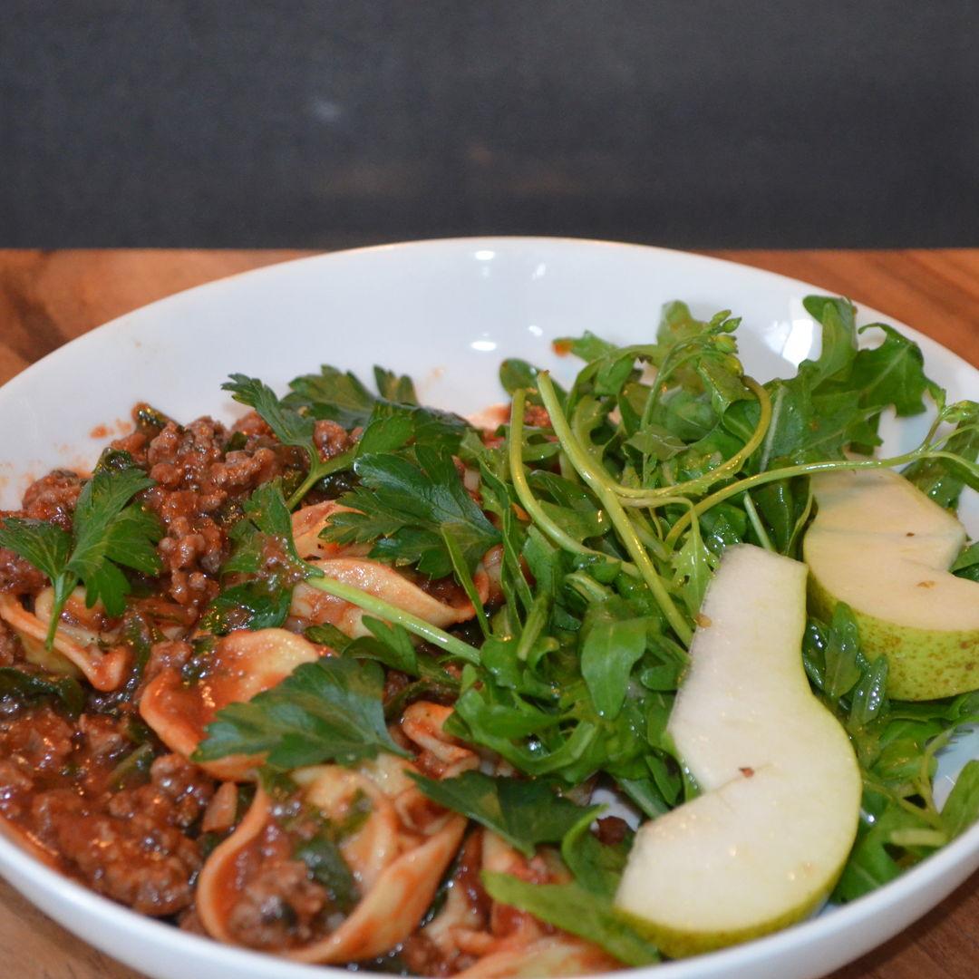 Date: 9 Apr 2020 (Thu) 100th Main: Beef Ragu Tortellini with Rocket-Pear Salad [303] [158.6%] [Score: 9.3] Cuisine: Italian Dish Type: Main