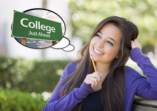 young woman thinking about college