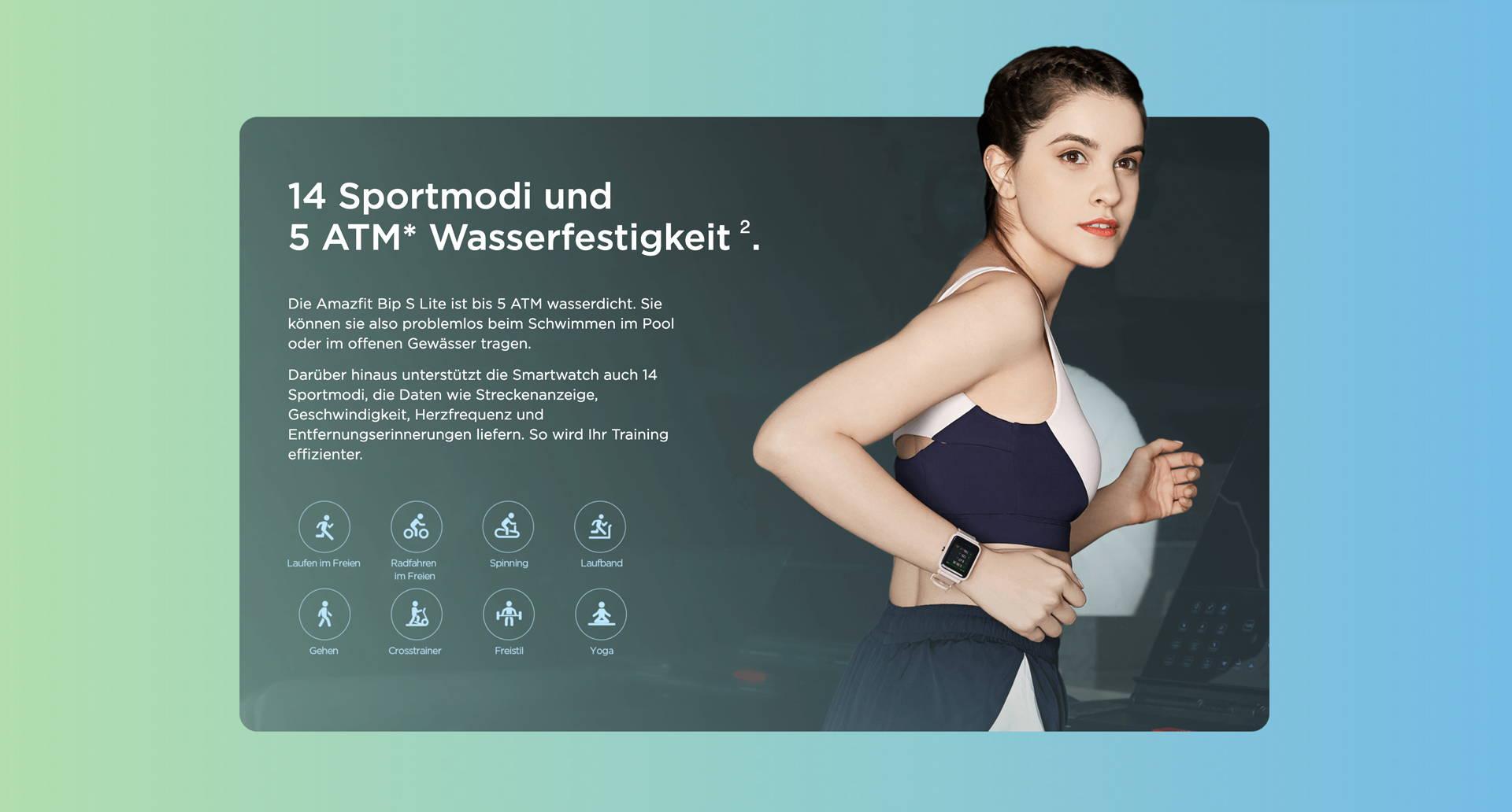 Amazfit DE - Amazfit Bip S Lite - 8 Sportmodi und 5 ATM Wasserfestigkeit.