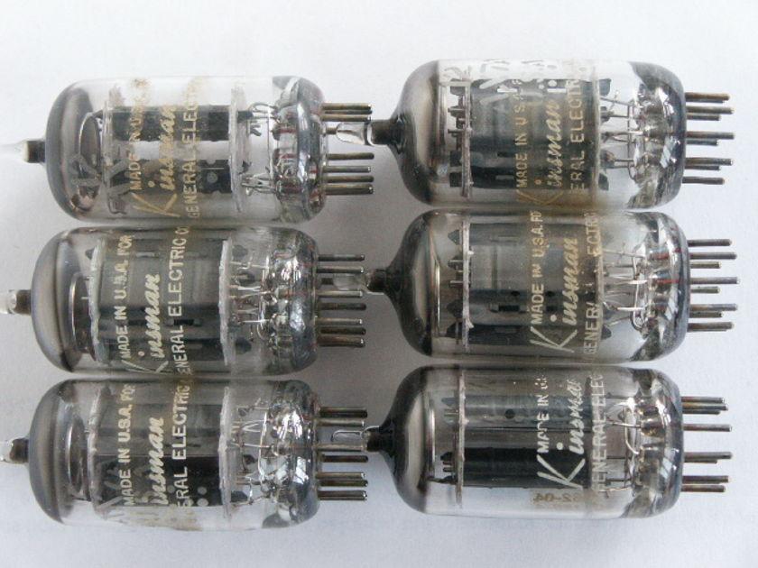 6 VINTAGE GE PREMIUM KINSMAN  12AX7 LONG PLATE TUBES, TEST  STRONG