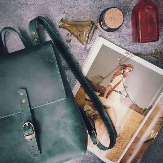 Рюкзак из кожи Elphie зеленый