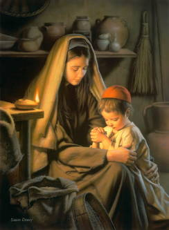 Painting of Mary and young Jesus praying together.