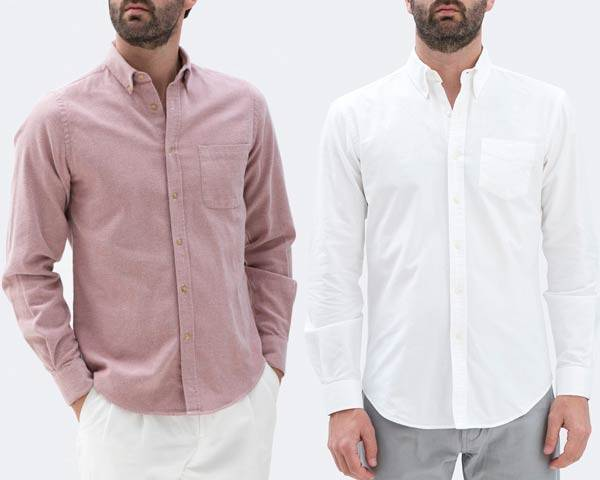 Man wearing white organic cotton oxford shirt with grey trousers and man wearing pink oxford shirt, both from sustainable fashion brand Isto