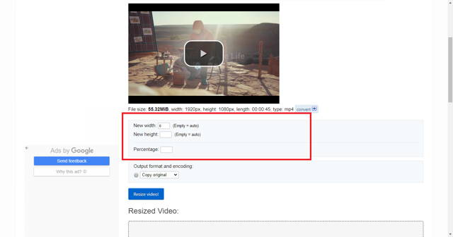 change the width and height of the video