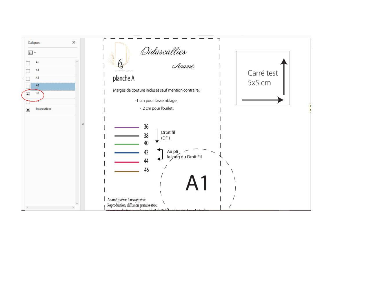 une étape de l'impression de patron de couture en format pdf