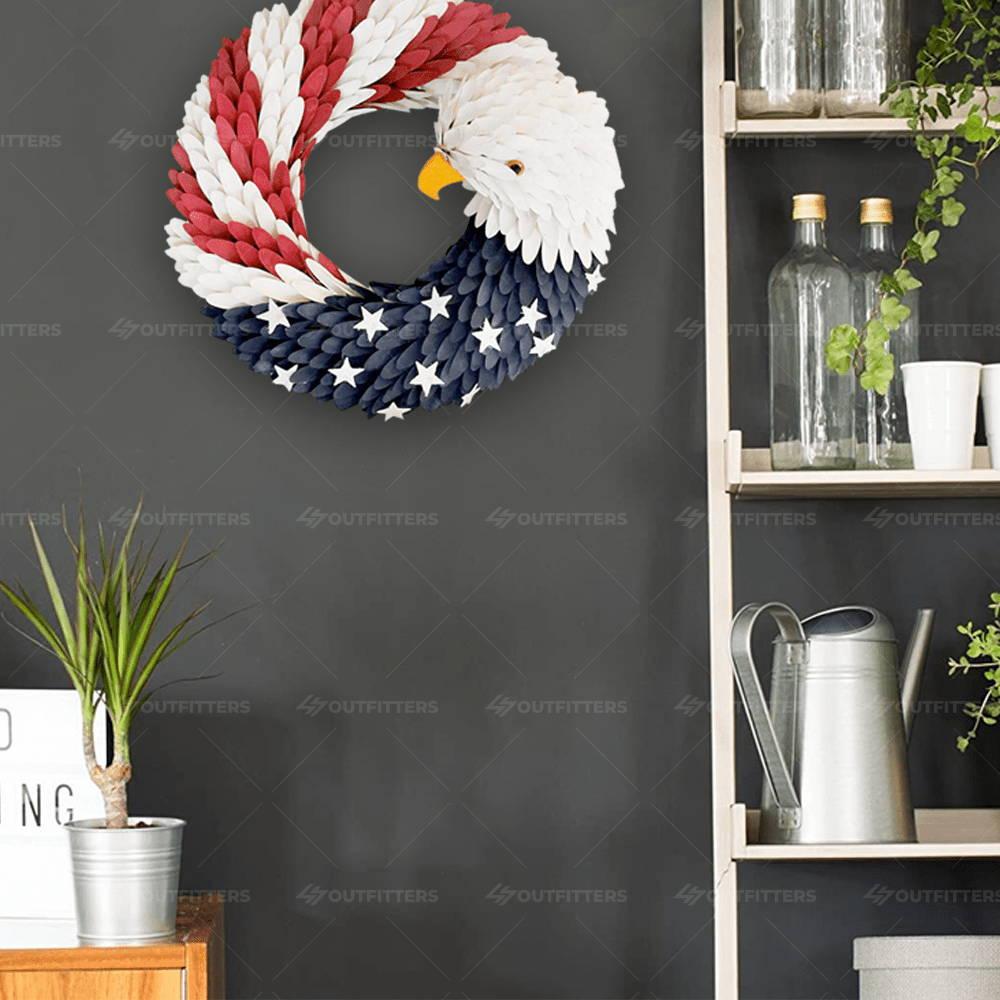 eagle head flag wreath, flag eagle wreath, red white and blue eagle wreath,