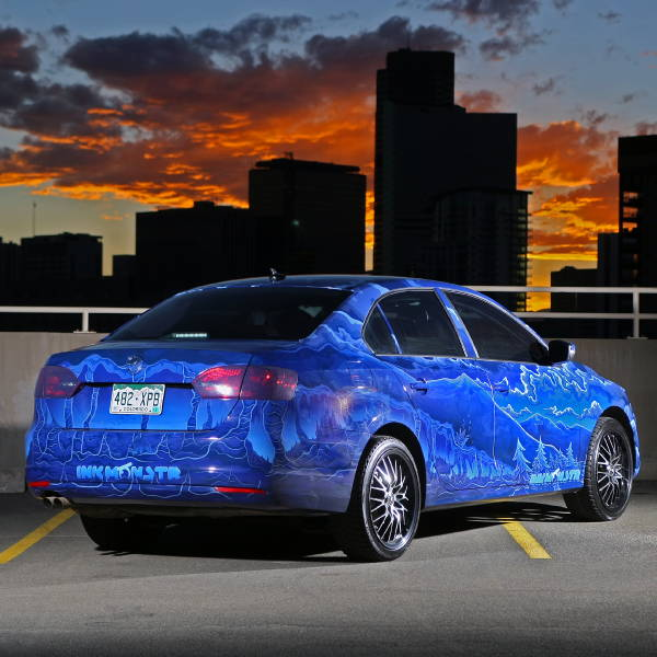 Vinyl Vehicle Wrap - Blue Ink Monstr VW - Sunset
