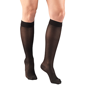 Ladies' Knee High Diamond Pattern Sheer Stockings in Black