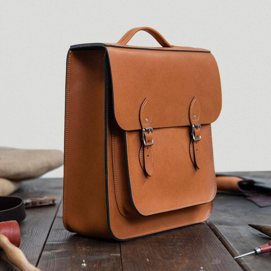 Tan Large Leather Backpack