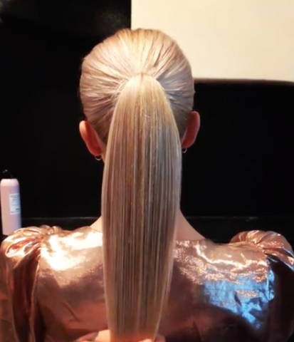 backview of a sleek blonde ponytail