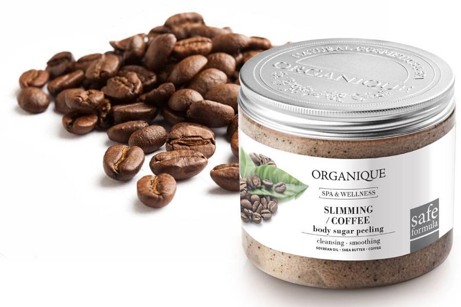 Organique Slimming Coffee Sugar Body Peeling 200ml box natural luxury cosmetics