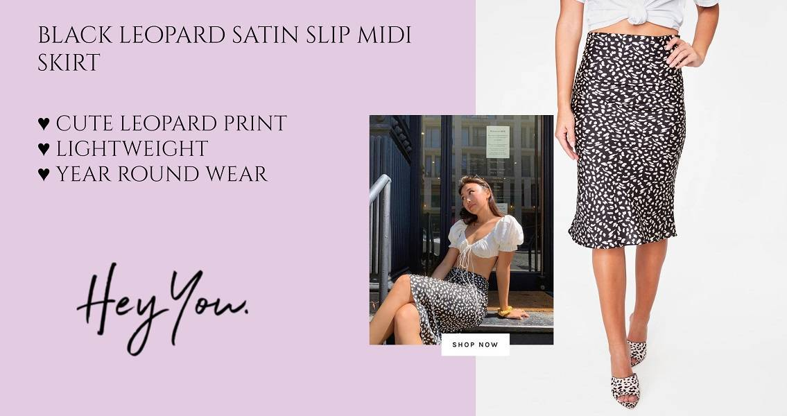 black leopard satin slip midi skirt