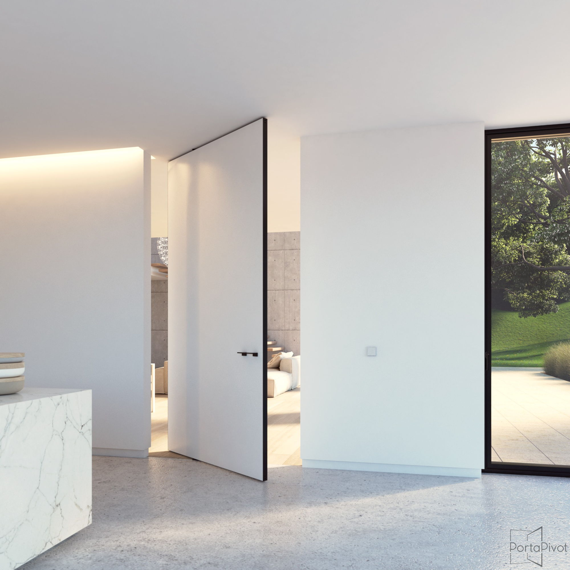 modern pivot door with offset axis pivoting hinge